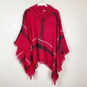 Sweaters - Red plaid oversized fringe poncho